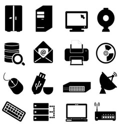 Computer and technology icon set vector