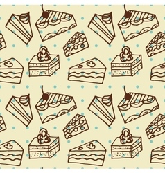 Seamlees pattern with cakes vector
