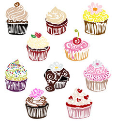 Fancycupcakesset vector