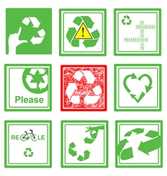 Set of green and red recycle sign symbol vector