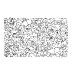 Christmas theme doodle winter pattern vector