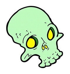 Comic cartoon spooky skull vector