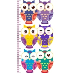 colorful owls Children height meter wall sticker vector image