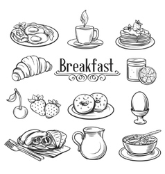 Hand drawn decorative icons breakfast vector