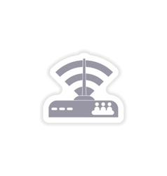 Paper sticker on white background wi-fi router vector