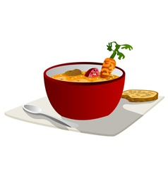hot vegetable soup vector image