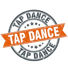 Tap dance round orange grungy vintage isolated vector