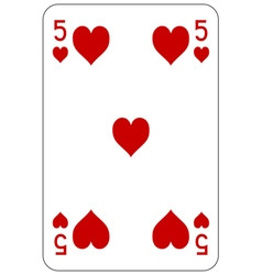 Poker playing card 5 heart vector