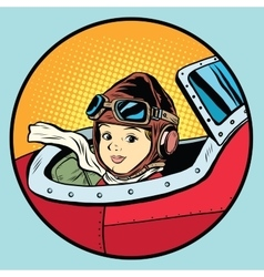 Child pilot plane game dream aviation vector