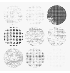 Set of distressed halftone textures vector