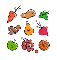 Vegetables and fruits part 1 outlines colored vector