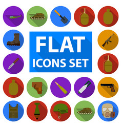 Army and armament flat icons in set collection for vector