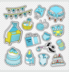 Baby shower boy decoration elements vector