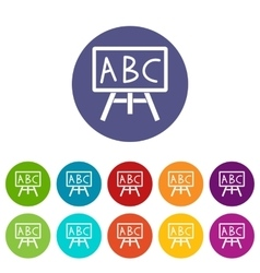 Chalkboard with the leters abc set icons vector