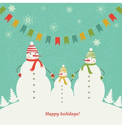 Christmas card with the family of snowmen vector image vector image