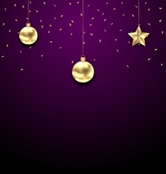 Christmas golden balls copy space for your text vector
