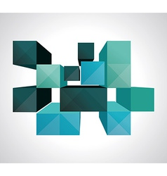Colorful 3d cubes background - design vector