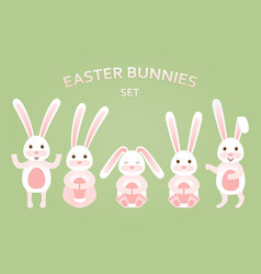 cute easter bunnies set in different poses vector image