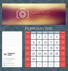 Desk calendar for 2016 year february stationery vector