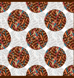 Doodle seamless pattern in ethnic colors textile vector