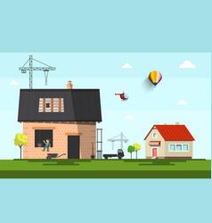 Family house construction on suburb flat design vector