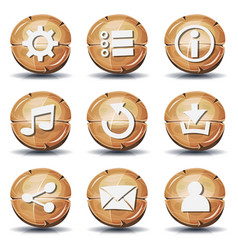 Funny wood icons and buttons for ui game vector