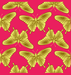 Golden butterfly seamless pattern vector