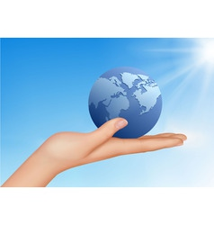 hand with globe vector image vector image