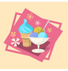 ice cream summer cold dessert icon vector image