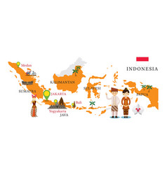 Indonesia map and landmarks vector
