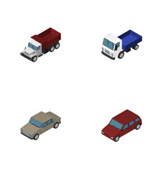Isometric transport set of freight auto lorry vector