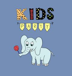 kids party lettering party with baby elephant vector image