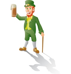 leprechaun makes a toast with beer vector image vector image