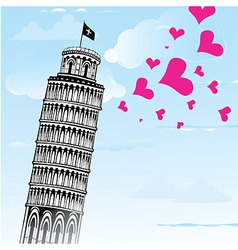 Love to italy pisa tower vector