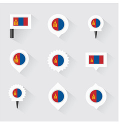 Mongolia flag and pins for infographic and map vector
