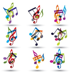 Musical notes abstract icons set vector