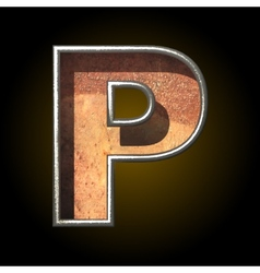 old metal letter p vector image vector image