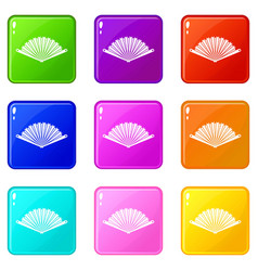 Opened oriental fan icons 9 set vector