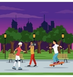 people doing activities city park brench lamp vector image