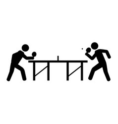 Ping pong players with table silhouette vector