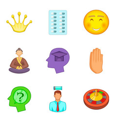 Psychology icons set cartoon style vector