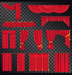 red curtains for theatres collection on black vector image vector image