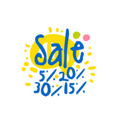 Sale 5 15 20 30 percent off logo template vector