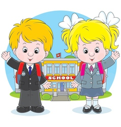 Schoolchildren before a school vector
