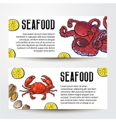 Seafood restaurant cafe banner templates with vector image