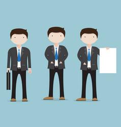 Set of businessman character cartoon vector