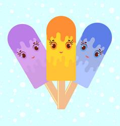 Set of flat colored isolated cartoon ice-cream vector