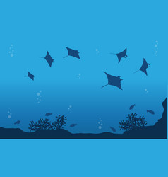Stingray on ocean landscape vector