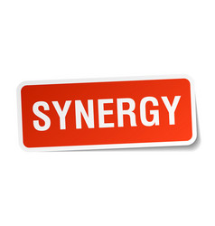 synergy square sticker on white vector image vector image