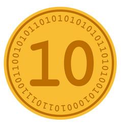 ten digital coin vector image vector image
